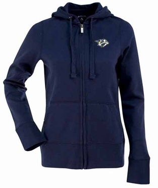 Nashville Predators Womens Zip Front Hoody Sweatshirt (Team Color: Navy)