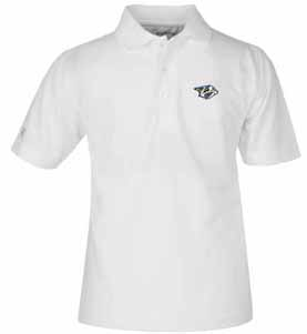 Nashville Predators YOUTH Unisex Pique Polo Shirt (Color: White) - Large