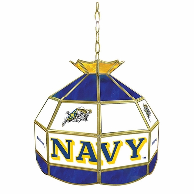 Navy 16 Inch Diameter Stained Glass Pub Light