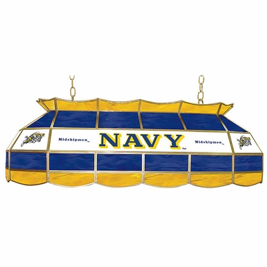 Navy 40 Inch Rectangular Stained Glass Billiard Light