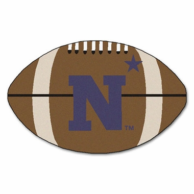 Navy Football Shaped Rug