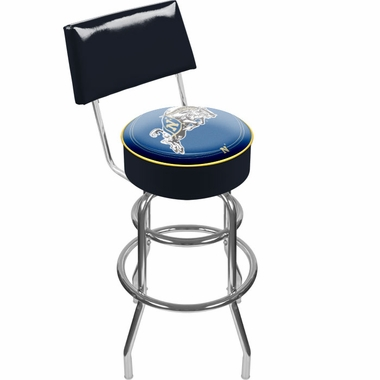 Navy Padded Bar Stool with Back