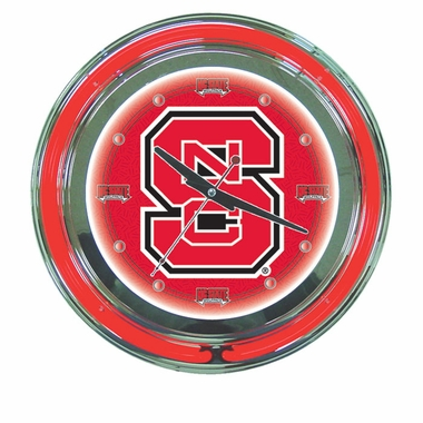 NC State 14 Inch Neon Clock