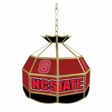 NC State 16 Inch Diameter Stained Glass Pub Light