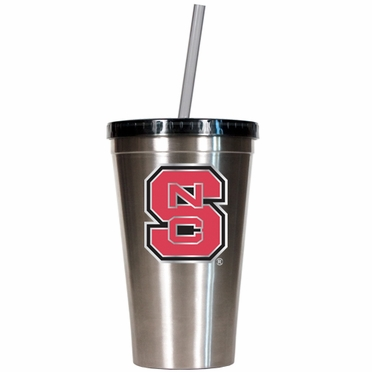 NC State 16oz Stainless Steel Insulated Tumbler with Straw