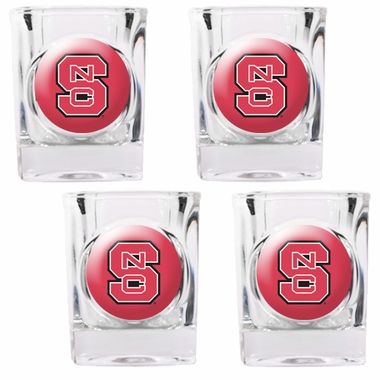 NC State 4 Piece Shot Glass Set