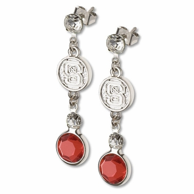 NC State Crystal Logo Dangle Earrings