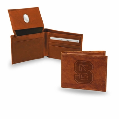 NC State Embossed Leather Bifold Wallet