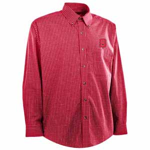 NC State Mens Esteem Check Pattern Button Down Dress Shirt (Team Color: Red) - Large