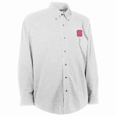 NC State Mens Esteem Check Pattern Button Down Dress Shirt (Color: White)