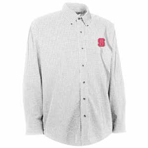 NC State Mens Esteem Check Pattern Button Down Dress Shirt (Color: White) - Medium