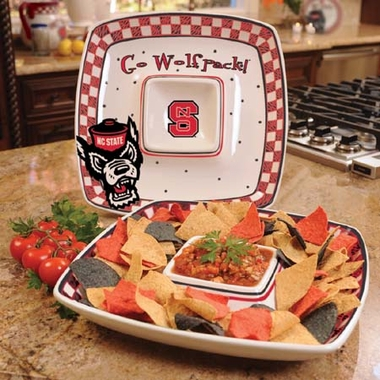 NC State Gameday Ceramic Chip and Dip Platter