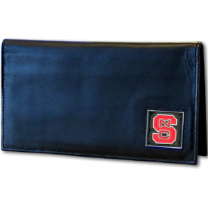 NC State Leather Checkbook Cover (F)