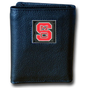 NC State Leather Trifold Wallet