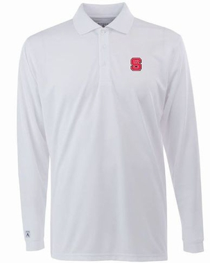 NC State Mens Long Sleeve Polo Shirt (Color: White)