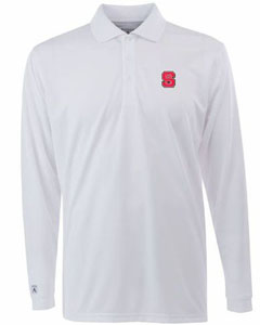 NC State Mens Long Sleeve Polo Shirt (Color: White) - Medium