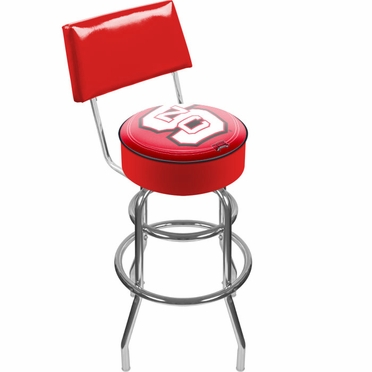 NC State Padded Bar Stool with Back