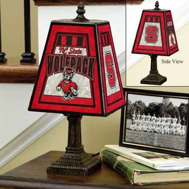 NC State Small Art Glass Lamp