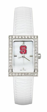 NC State Women's White Leather Strap Allure Watch