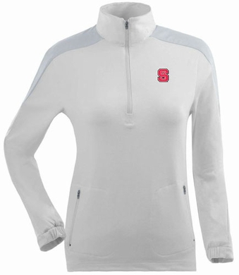 NC State Womens Succeed 1/4 Zip Performance Pullover (Color: White)