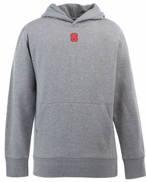 NC State YOUTH Boys Signature Hooded Sweatshirt (Color: Gray)