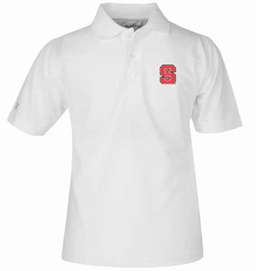 NC State YOUTH Unisex Pique Polo Shirt (Color: White)