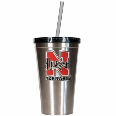 Nebraska 16oz Stainless Steel Insulated Tumbler with Straw