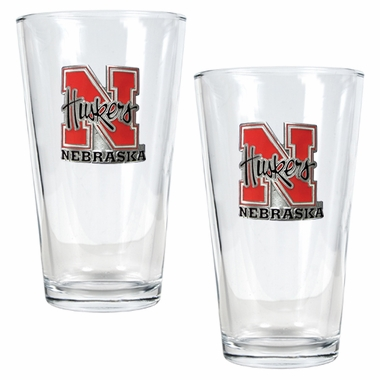 Nebraska 2 Piece Pint Glass Set