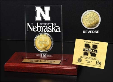 Nebraska Cornhuskers University of Nebraska 24KT Gold Coin Etched Acrylic