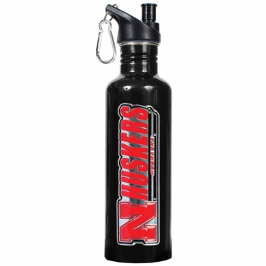Nebraska 26oz Stainless Steel Water Bottle (Black)