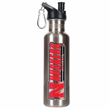 Nebraska 26oz Stainless Steel Water Bottle (Silver)