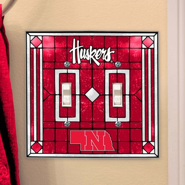 Nebraska Art Glass Lightswitch Cover (Double)