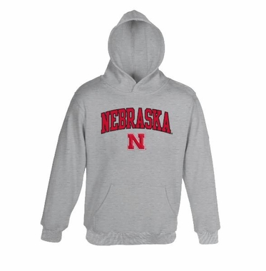 Nebraska Athletic Grey Embroidered Hooded Sweatshirt