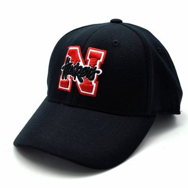 Nebraska Black Premium FlexFit Baseball Hat