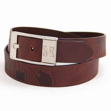 Nebraska Brown Leather Brandished Belt
