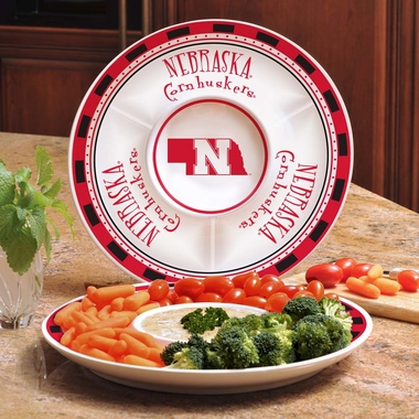Nebraska Ceramic Chip and Dip Plate