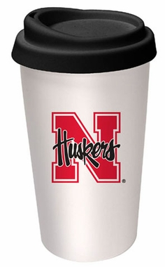 Nebraska Ceramic Travel Cup