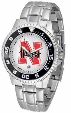 Nebraska Competitor Men's Steel Band Watch