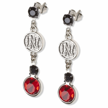 Nebraska Crystal Logo Dangle Earrings