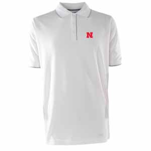 Nebraska Mens Elite Polo Shirt (Color: White) - Small