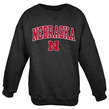 Nebraska Embroidered Crew Sweatshirt (Black)