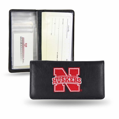 Nebraska Embroidered Leather Checkbook Cover
