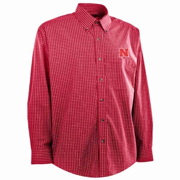 Nebraska Mens Esteem Button Down Dress Shirt (Team Color: Red)