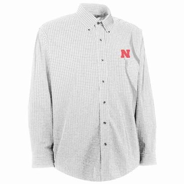 Nebraska Mens Esteem Check Pattern Button Down Dress Shirt (Color: White)