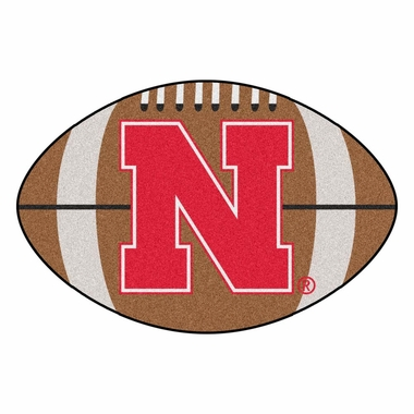 Nebraska Football Shaped Rug