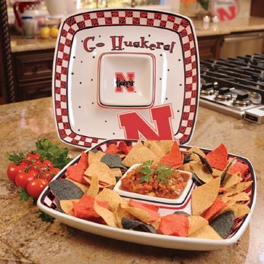Nebraska Gameday Ceramic Chip and Dip Platter