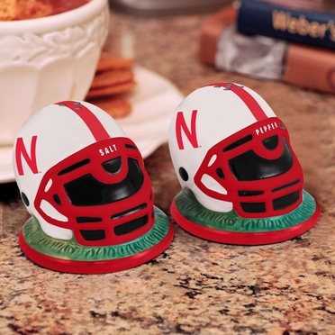 Nebraska Helmet Ceramic Salt and Pepper Shakers