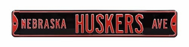 Nebraska Huskers Ave Black Street Sign