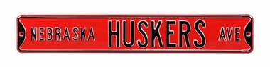 Nebraska Huskers Ave Red Street Sign