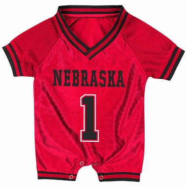 Nebraska Infant Pounce Football Jersey Onesie
